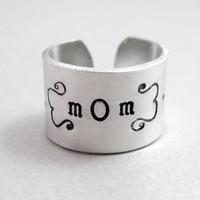 Personalized Mothers Day Gift - Custom Name Wide Ring - Hand Stamped Aluminum Ring