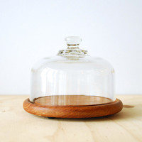 Domed Cheese Server Teak and Glass Cloche Dome Tray