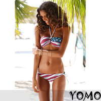 2pcs STARS and STRIPE PADDED Strapless BIKINI AMERICAN FLAG Swimsuit