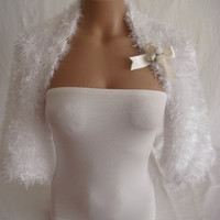 Hand knitted crocheted (White) short sleeve wedding bridal bolero shrug by Arzu&#x27;s Style