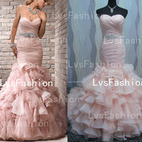 Mermaid Strapless sweetheart with Beading Organza Vintage Wedding Dresses, Bridal Gown, Beach Wedding Dresses