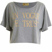 LOVE Grey And Peach 'In Vogue We Trust' Crop Tee - Love