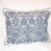 Gray Hand made embroidered pillow case with Hungarian motifs