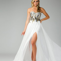 Mac Duggal Prom 2013- Gold & Ivory Flowing Prom DressDress - Unique Vintage - Prom dresses, retro dresses, retro swimsuits.