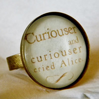 Curiouser And Curiouser Ring. Alice In Wonderland Quote Ring. Adjustable Band.