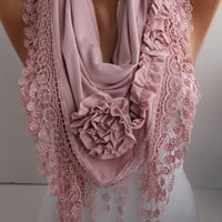 New- Soft Pink  Jersey Rose Shawl/ Scarf -Headband -Cowl with Lace trim- DIDUCI