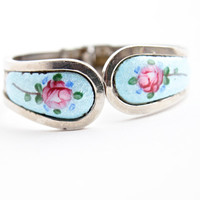 Vintage Guilloche Enamel Flower Bracelet - Silver Tone Clamper Costume Jewelry / Pink Roses on Blue