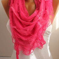 NEW- Love Pink Fushia Scarf  Shawl- DIDUCI