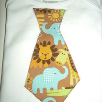 Zoo Animals Print Boy Tie Onsie