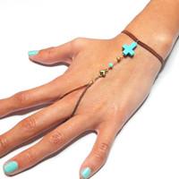 Brown suede braided friendship bracelet ring handpiece - slave chain gold plated heart charm turquoise cross bead free people inspired