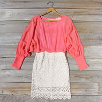 Lace &amp; Quartz Dress in Watermelon, Sweet Women&#x27;s Bohemian Clothing