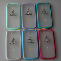 harry potter Samsung Galaxy S3 case,phone cover, blur-green color frosted translucent Samsung Galaxy S3 case with a Deathly Hallows
