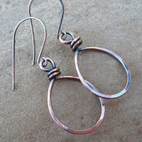 Hoop Copper Earrings Hammered Copper Jewelry Sterling Silver Ear Wires
