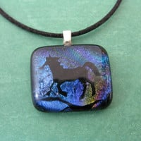 Horse Necklace, Gold Dichroic Horse Pendant, Horse Jewelry - RainSplasher - 4062 -3