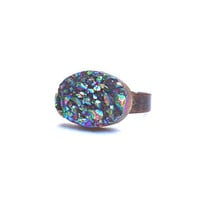 Druzy Ring  Bonfire v9 by BrooklynThread on Etsy