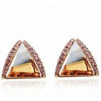 Champagne Gold Triangle Swarovski Crystal With Diamond Stud Earrings - Swarovski Earrings - Earrings - Jewelry