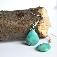 Stone Turquoise Earrings, Drop Earrings Turquoise Jewelry, Blue Earthy Yoga Earrings, Canadian Jewelry Shop