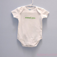 sweet pea Onesuit Embroidered Word Baby Onesuit sweetpea