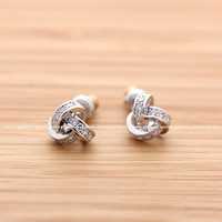 girlsluv.it - crossed three CIRCLES stud earrings with crystals, 2 colors;