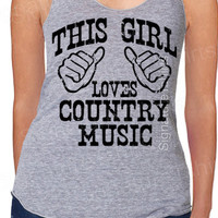 This Girl Loves Country Music Womens Tank Top Tri-Blend Vintage style American Apparel Racerback S, M, L