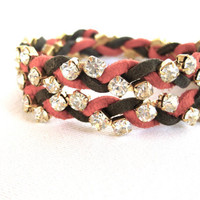 Wrap Bracelet, Stackable Bracelet, Rhinestone Bracelet, Suede Leather, Tangerine, Olive Green