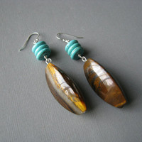   Tiger Iron Gemstone Earrings 