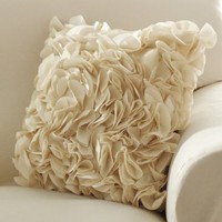 Ruffle Petal Accent Pillow Cover W/ Zip Closure Cream by Winston Brands: Home & Kitchen