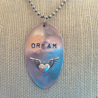 Chic &quot;Dream&quot; Silver Plated Flattened Spoon Tag Necklace