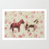 two horses Art Print by Beverly LeFevre