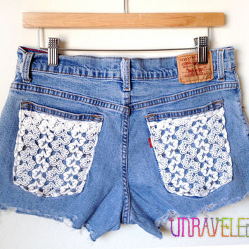 Lace Pocket Denim Shorts (MEDIUM) // 2019