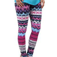 multicolor tribal print stretch cotton leggings - 1000046771 - debshops.com