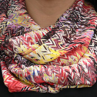 Multicolor Chevron Infinity Scarf. Loop Scarf. Women Accessories