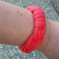 Orange T Shirt Jersey Bracelet One Size Fits All | JabberJewels - Jewelry on ArtFire