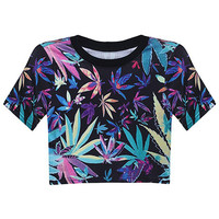 "ROMWE | ""Maple Leaf"" Midriff T-shirt, The Latest Street Fashion"