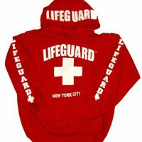 LIFEGUARD New York City Red Hoodie: Clothing