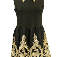 ROMWE | Splicing Embroidery Black Dress, The Latest Street Fashion