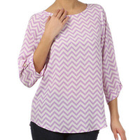 Central Park Purple Chevron Blouse With Cuffs