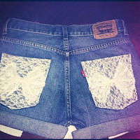 High Waisted Levi's Denim Shorts With White Lace