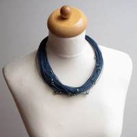 Multistrand Fiber Necklace Navy Blue Linen by DreamsFactory