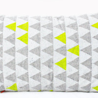 "Mountains of Montana - neon yellow and grey triangle pattern organic pillow, hand printed, 14"" x 24"""