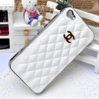 Amazon.com: Luxury Designer White Soft Leather Chrome Frame Cover Case for Iphone 5 Chanel Inspired: Cell Phones & Accessories