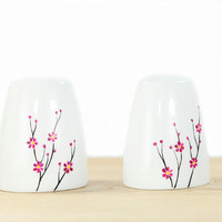Hand Painted Ceramic Salt and Paper Shakers Blooming Cherry Tree  design modern minimalist white Kitchen Decor Decorative Ceramic Art