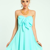 Mint Bow Tie Chiffon Dress