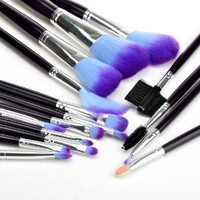 16pc Lady Pro Fashion Purple Wooden Handle Makeup Brush Set Nylon Hair 15brush