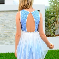 Blue Sleeveless Sequin Ballerina Dress with Cutout Back