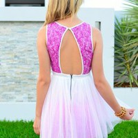 Purple Sleeveless Sequin Ballerina Dress with Cutout Back