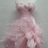 Cocktail Dresses 2013 — A-line Sweetheart Organza Short/Mini Pink Flowers Party Dress at Dresseshop.ca