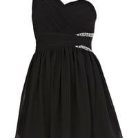 Cocktail Dresses 2013 — A-line One Shoulder Short/Mini Chiffon Black Cocktail Dress at Msdressy.com