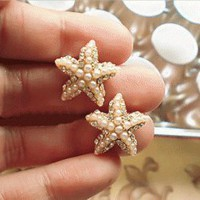 Handmade Pearl Starfish Earrings