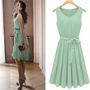 Mint Green Bow Chiffon Slim Dress